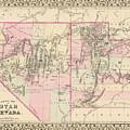 Vintage Map Of Nevada And Utah - 1880 by CartographyAssociates