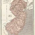 Vintage Map Of New Jersey - 1845 by CartographyAssociates