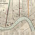 Vintage Map Of New Orleans Louisiana - 1845 by CartographyAssociates