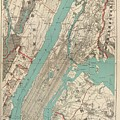 Vintage Map Of New York City - 1890 by CartographyAssociates