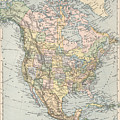 Vintage Map Of North America - 1892 by CartographyAssociates