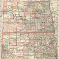 Vintage Map Of North And South Dakota - 1891 by CartographyAssociates