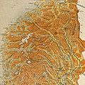 Vintage Map Of Norway - 1914 by CartographyAssociates