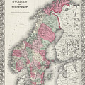 Vintage Map Of Norway And Sweden - 1865 by CartographyAssociates