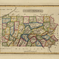Antique Map Of Pennsylvania by Fielding Lucas