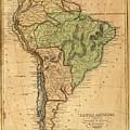 Vintage Map Of South America - 1821 by CartographyAssociates