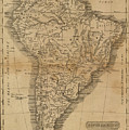 Vintage Map Of South America - 1825 by CartographyAssociates