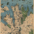 Vintage Map Of Sydney Australia - 1922 by CartographyAssociates