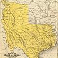 Vintage Map Of Texas - 1847 by CartographyAssociates