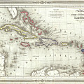 Vintage Map Of The Caribbean - 1852 by CartographyAssociates