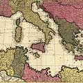 Vintage Map Of The Mediterranean - 1695 by CartographyAssociates