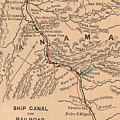 Vintage Map Of The Panama Canal - 1885 by CartographyAssociates
