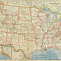 Vintage Map Of United States, 1883 by World Art Prints And Designs