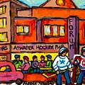 Vintage Montreal Forum Winter Scene With Outdoor Street Hockey Game Canadian Painting For Sale  by Carole Spandau