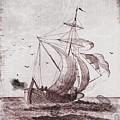 Vintage Nautical Black And White Sailing Ship by Vintage Nautical Art