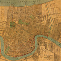 Vintage New Orleans Louisiana Street Map 1919 Retro Cartography Print On Worn Canvas by Design Turnpike