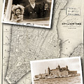 Vintage New York Map With Ellis Island by Karla Beatty