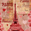Vintage Paris And Roses by Irina Sztukowski