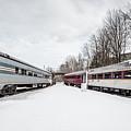 Vintage Passenger Train Cars In Winter by Edward Fielding