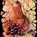 Vintage  Pear And Grapes Fresco   by Lena  Owens OLena Art
