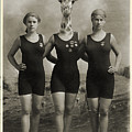 Vintage Photo Of A Giraffe And The Swim Team by Dylan Murphy