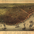 Vintage Pictorial Map Of New Orleans - 1885 by CartographyAssociates
