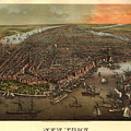 Vintage Pictorial Map Of New York City - 1873 by CartographyAssociates