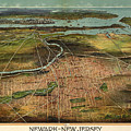 Vintage Pictorial Map Of Newark Nj - 1916 by CartographyAssociates