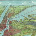 Vintage Pictorial Map Of Of New York City - 1909 by CartographyAssociates