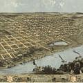 Vintage Pictorial Map Of Omaha Nebraska - 1868 by CartographyAssociates