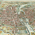 Vintage Pictorial Map Of Paris - 1615 by CartographyAssociates