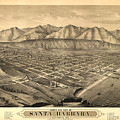Vintage Pictorial Map Of Santa Barbara Ca - 1877 by CartographyAssociates