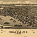 Vintage Pictorial Map Of Seattle - 1884 by CartographyAssociates