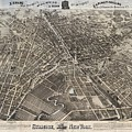 Vintage Pictorial Map Of Syracuse New York - 1874 by CartographyAssociates