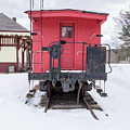 Vintage Red Caboose In The Snow by Edward Fielding