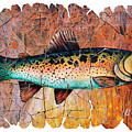 Vintage Red Trout Fresco  by OLena Art Brand