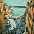 Vintage Riomaggiore Cinque Terre Italy by Joan Carroll