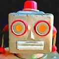 Vintage Robot Toy Square Pop Art by Edward Fielding