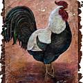 Vintage Rooster Fresco  by OLena Art - Lena Owens