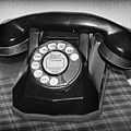 Vintage Rotary Phone Black And White by Karen Adams