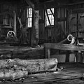 Vintage Sawmill In Black And White by Paul Ward
