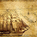 Vintage Ship Map by Lucia Sirna