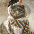 Vintage Snowman Grey Cat by Joann Vitali