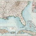 Vintage Southeastern Us And Caribbean Map - 1900 by CartographyAssociates