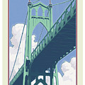 Vintage St. Johns Bridge Travel Poster by Mitch Frey