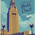 Cleveland Poster - Vintage Style Travel  by Jim Zahniser