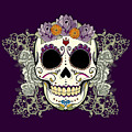 Vintage Sugar Skull And Flowers by Tammy Wetzel