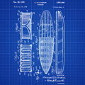 Vintage Surf Board Patent Blue Print 1950 by Bill Cannon