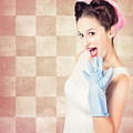 Vintage Surprised Pinup Woman Doing Housework by Jorgo Photography - Wall Art Gallery