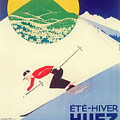 Vintage Travel Skiing by Mindy Sommers